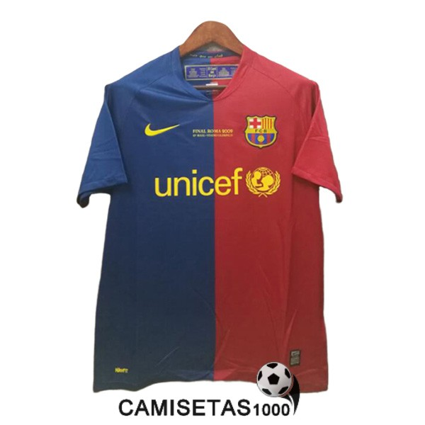 camiseta champions league barcelona retro azul rojo 2008-2009