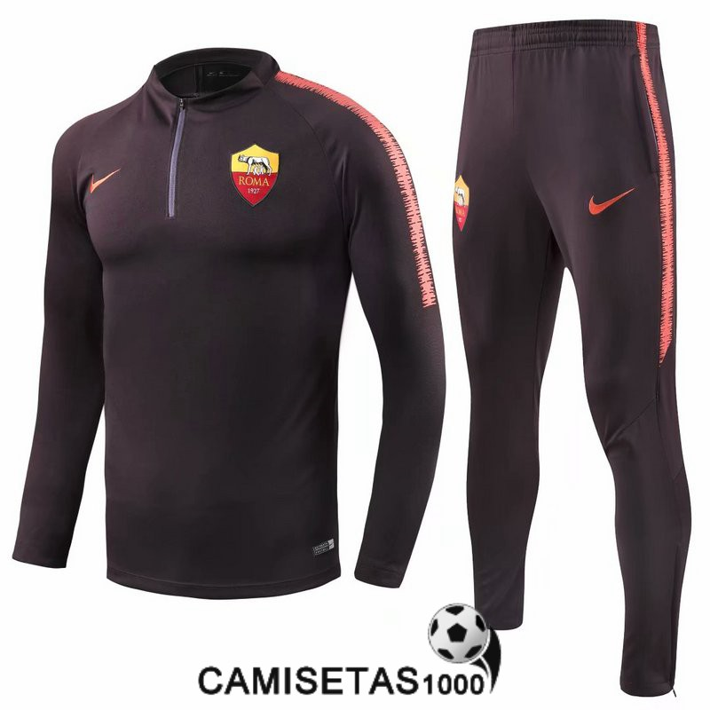 chandal as roma 2018 2019 cremallera marron