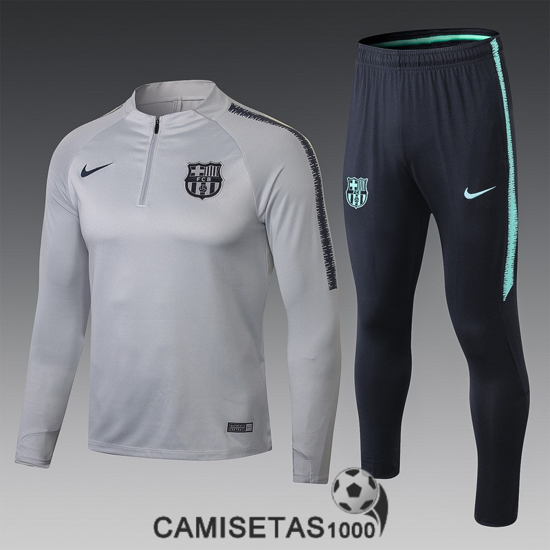 chandal barcelona 2018-2019 cremallera gris negro<br /><span class=