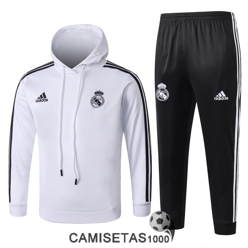 chandal con capucha real madrid nino 2018-2019 blanco