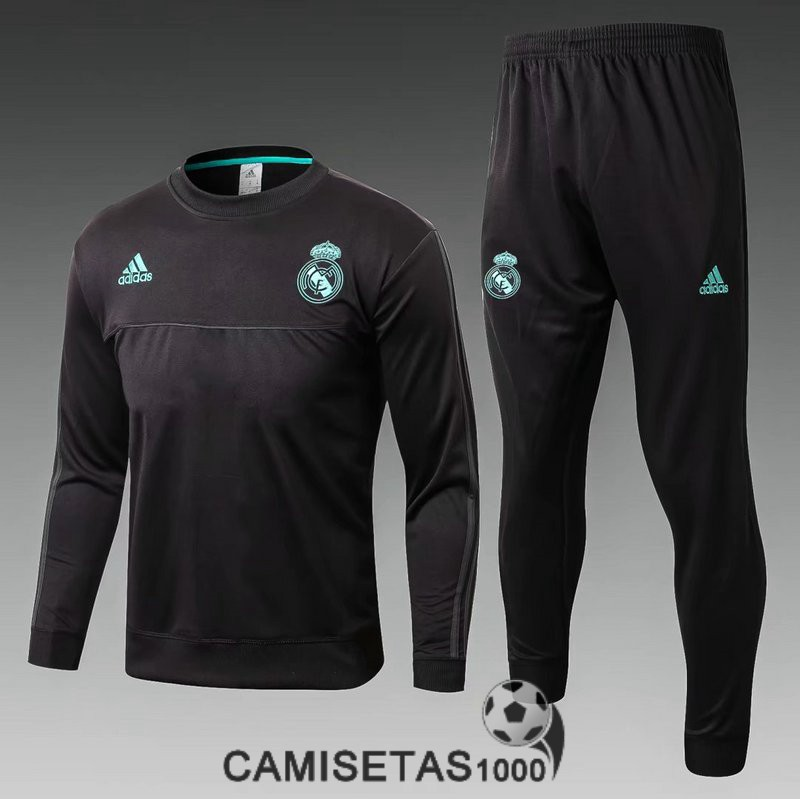 chandal real madrid 2017-2018 cuello redondo negro