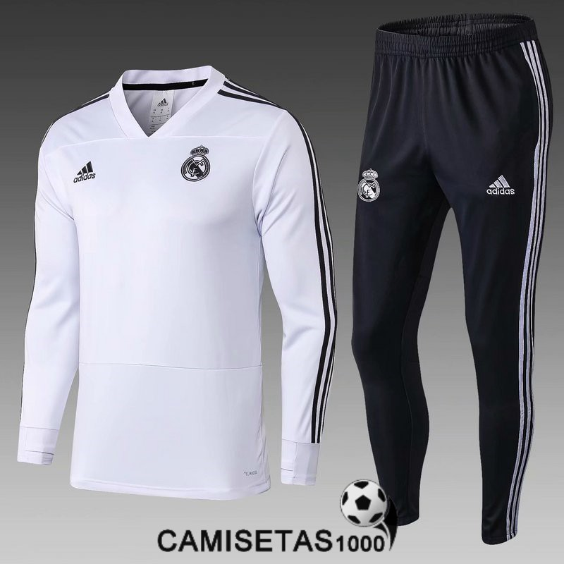chandal real madrid 2018 2019 cremallera blanco