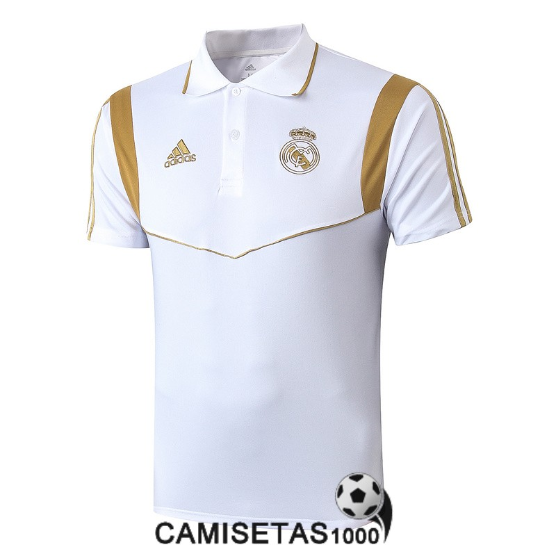 polo real madrid blanco oro 2019-2020 entrenamiento polo equipacion